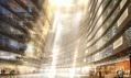 Pohled dovnitř budovy obchodního centra na vizualizaci