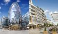Nejefektnější kancelářská budova a napravo byty v Eurovea