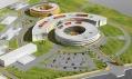 Detail modelu nemocnice několika pavilonů s přilehlým parkovištěm