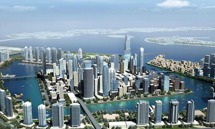 OMA postaví vDubaji čtvercový ostrov vzálivu