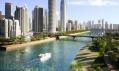 Uměle vytvořený plavební kanál okolo středu města