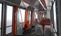 Interiér nové tramvaje s větším prostorem pro stojící pasažéry