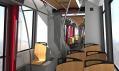 Interiér v jedné z variant vybaven dřevěnými sedačkami