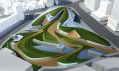 Vítězný park anáměstí Dongdaemun vSoulu, který navrhla Zaha Hadid