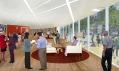 Veřejné halové prostory s knihovnou v přízemí