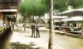 Pohled do zelených ulic města obchodu