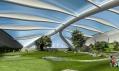 Pohled vizualizace do budovy tvaru listu skrývající golfové hřiště