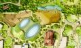 Satelitní pohled kresby na pavilon a přilehlý výběh pro slony