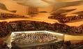 Zaoblený interiér filharmonie na vizualizaci s diváky při koncertě