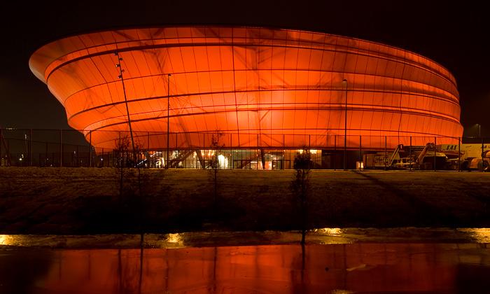 Koncertní hala Zenith veŠtrasburku jako lucerna