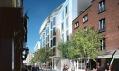 Clarence Hotel z ulice na vizualizaci po přestavbě s vlnitou fasádou