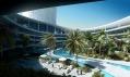 Interiér hotelu s venkovním bazénem, posezením a palmami