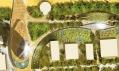 Satelitní pohle na hotel, jeho napojení na molo a přilehlý park s kavárnami