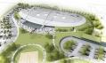 Národní bruslařský stadion veVelkém Oseku navizualizaci