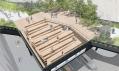 Ptačí pohled na promenádu s lavičkami na High Line