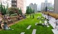 Npvé zelené plochy a lavičky na promenádě High Line