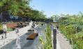Zeleň s vodními plochami a lavičkami jako ideální relaxace