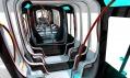 Interiér vozu Tramspiral navrženého pro francouzský Alstom