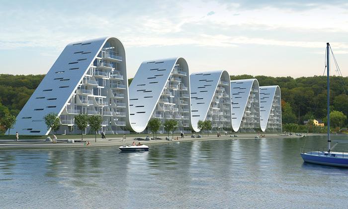 Dánské město Vejle staví rezidenci vetvaru pěti vln