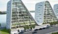 Vlnitá rezidence na vizualizacích v dánském městě Vejle
