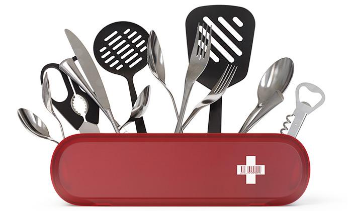 Kuchyňský držák Swissarmius jako švýcarský nůž