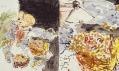 Georg Baselitz v Galerii Rudolfinum: Mladí kolchozníci poslouchají rádio (celek a detail)
