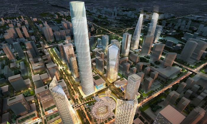 Peking rozšiřuje obchodní čtvrť onové mrakodrapy
