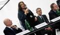 Zaha Hadid v muzeu MAXXI na tiskové konferenci s novináři