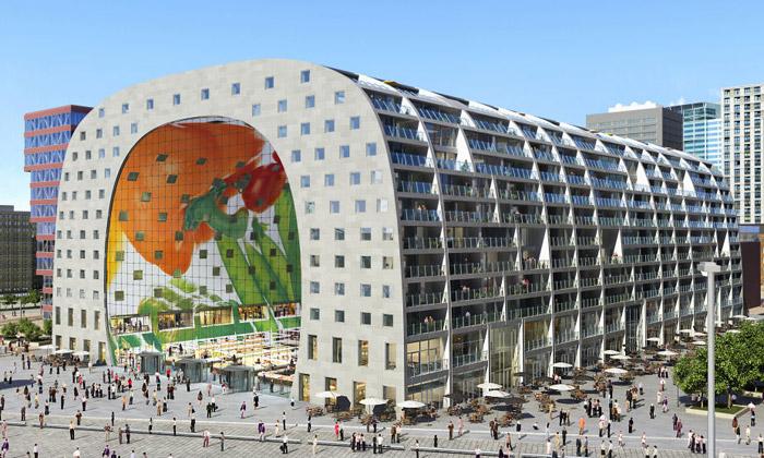 Rotterdam staví tržnici sbyty Market Hall odMVRDV