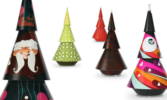 Vánoční stromky Sapinos jsou poseté uměním