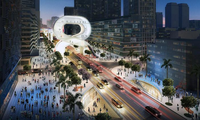Shenzhen postaví nakilometru ulice světelné mosty