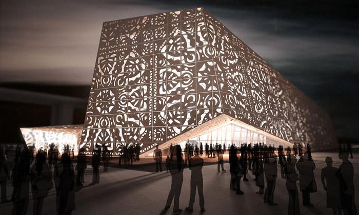 Polský pavilon naExpo 2010 jeobří svítící ornament