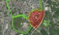 Červeně vyznačená oblast Černá louka v Ostravě