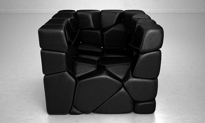 Variabilní křeslo Vuzzle Chair složeno ze 46 kamenů