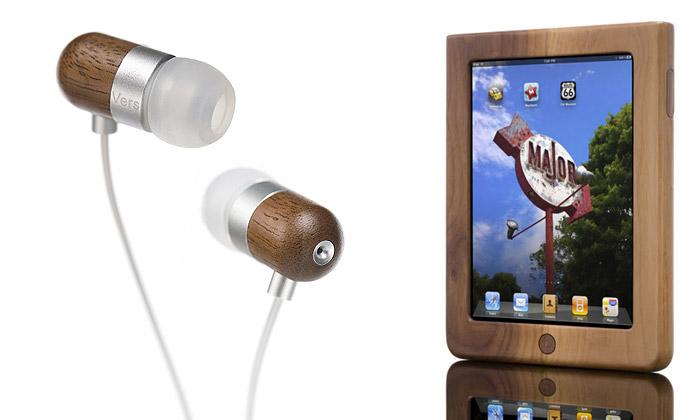 Vers má dřevěná sluchátka iobaly naiPhone aiPad