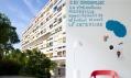 Budova Unité d'habitation Le Corbusier a plakát k instalaci