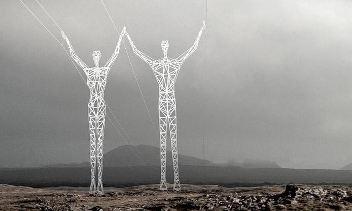 Choi Shine navrhli elektrické stožáry vpodobě lidí