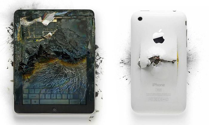 Zničené produkty Apple jako umělecké fotografie
