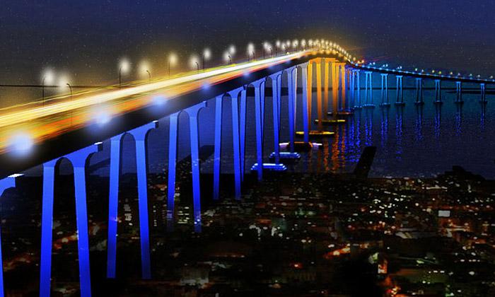 Most San Diego-Coronado bude svítit podle dopravy