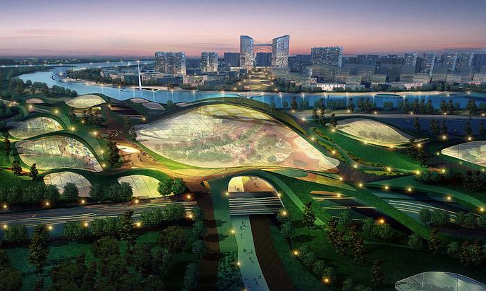 Čína staví obrovské zelené ekologické město Tianjin