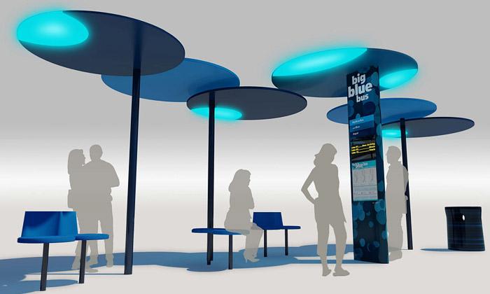 Santa Monica staví modré skládací zastávky zteček