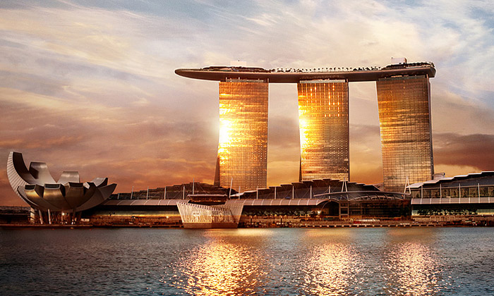 Marina Bay Sands jehotelový komplex stvarem lodi