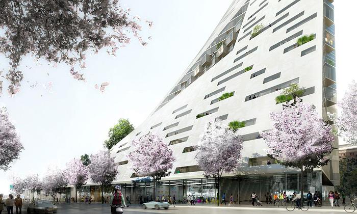 BIG staví vNew Yorku mrakodrap tvaru trojúhelníku