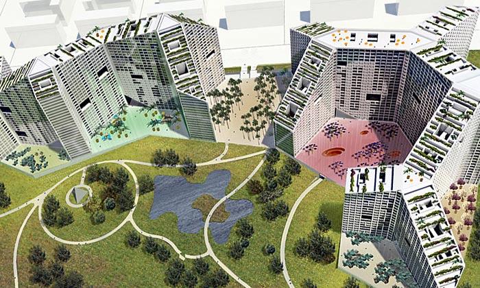 MVRDV staví vIndii geometrické město s3500 byty