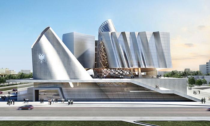 Coop Himmelblau staví Albánii kosmický parlament