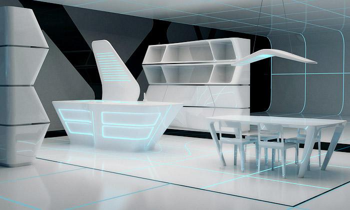 Designeři vytvořili interiér inspirovaný filmem Tron
