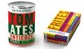 Ukázka pop-artových obalů potravin francouzské značky Monoprix