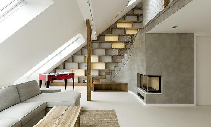 A1 Architects vytvořili vPraze útulný zaoblený loft