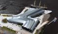 Zaha Hadid a letecké snímky jejího dopravního Riverside Museum