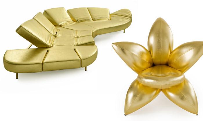 Edra uvádí výroční zlatou pohovku ikřesla květy